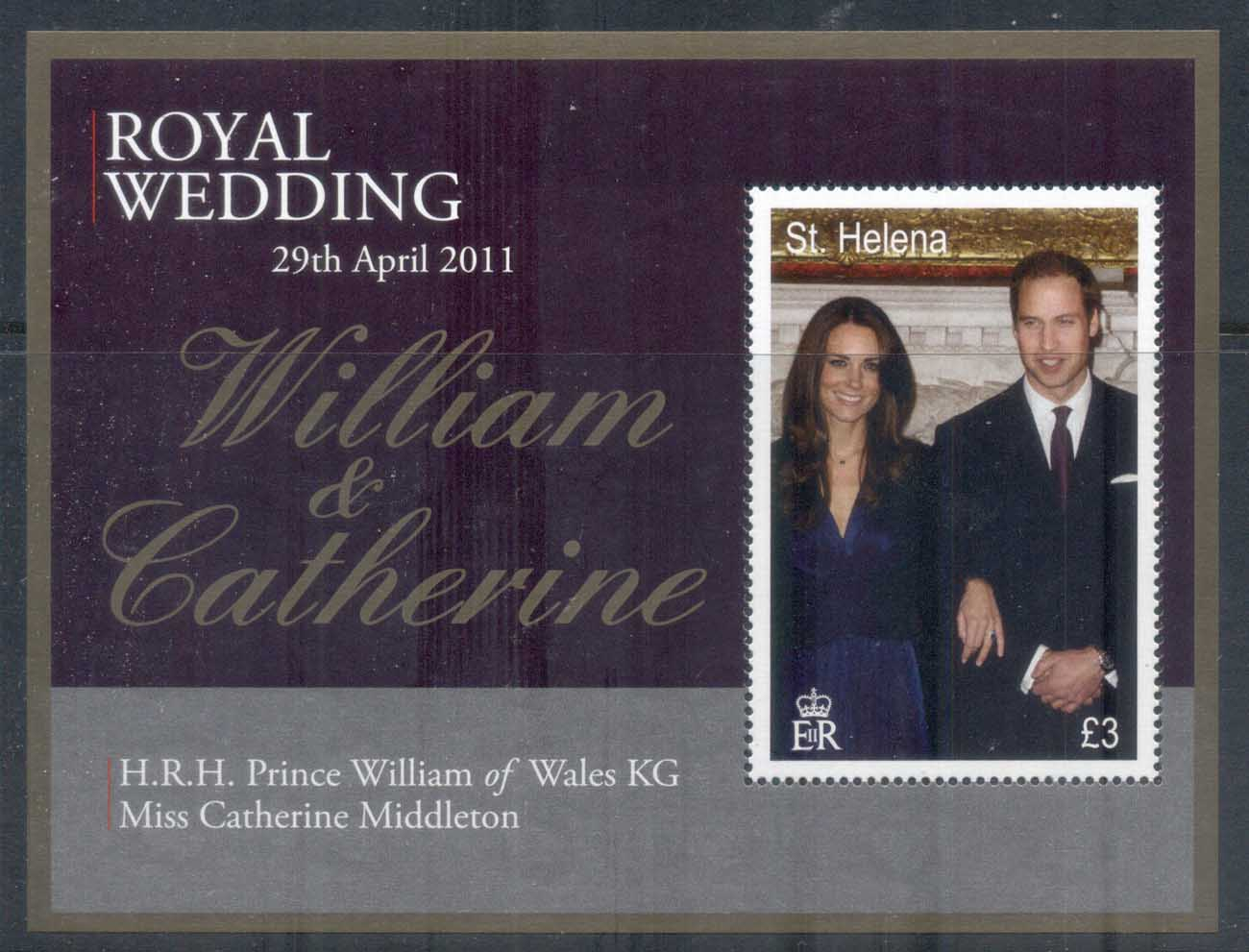 St Helena 2011 Royal Wedding William & Kate MS MUH