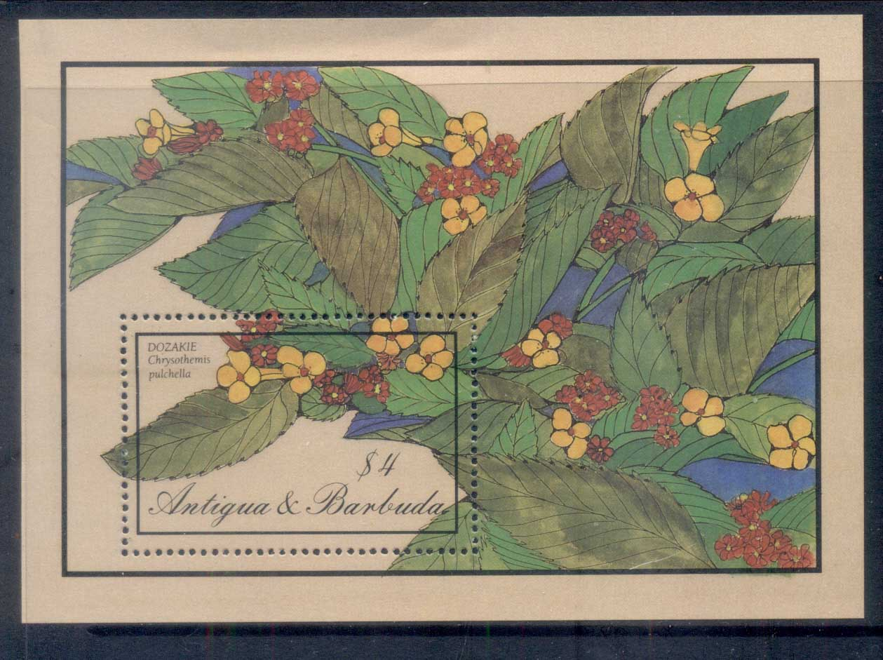 Antigua & Barbuda 1986 Flowers, $4 MS MUH