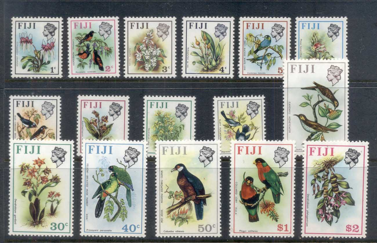 Fiji 1971-72 QEII Pictorials, Birds & Flowers MUH