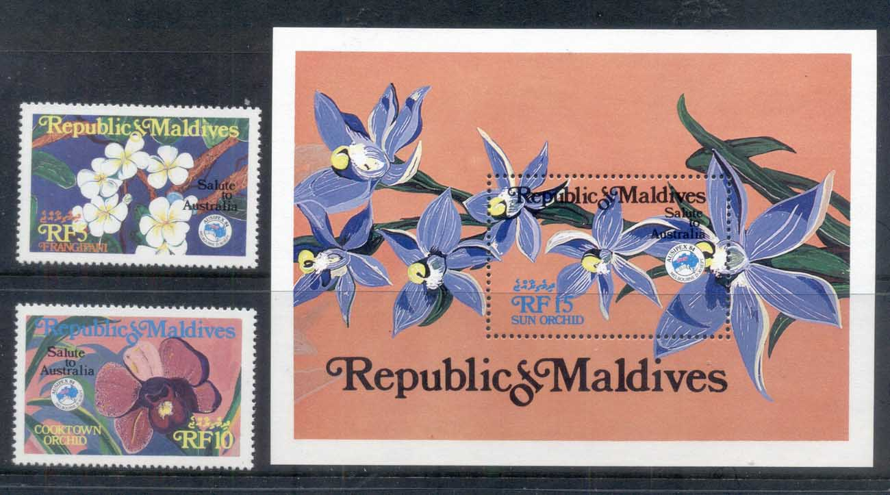 Maldive Is 1984 AUSIPEX, Flowers, Orchids + MS MUH