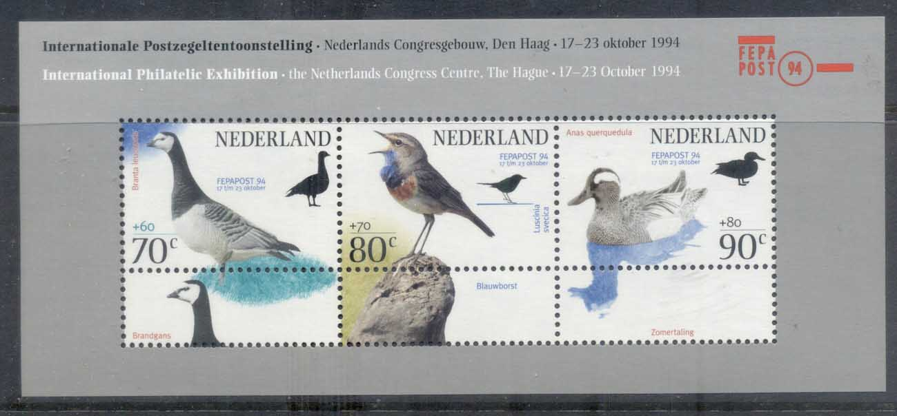 Netherlands 1994 Weldare,FEPAPOST, Birds MS MUH
