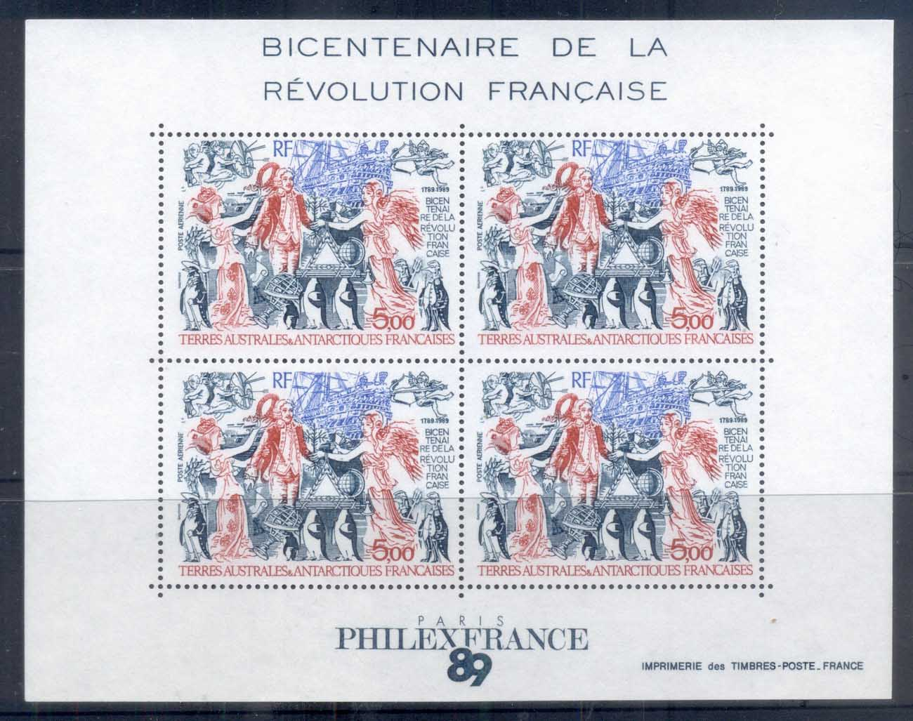 French Antarctic Territory 1989 French Revolution Bicent MS MUH