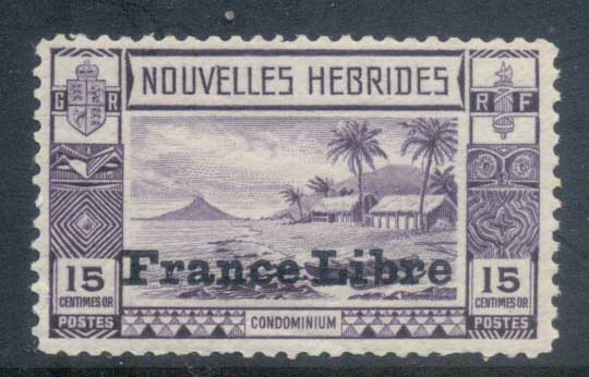 New Hebrides (Fr) 1941 Pictorial, Beach Scene Opt France Libre 15c MLH