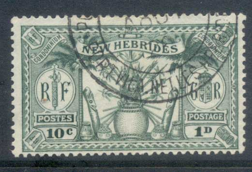 New Hebrides (Br) 1925 Native Idols, dual currency 10c/1d FU