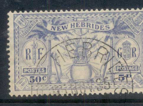New Hebrides (Br) 1925 Native Idols, dual currency 50c/5d FU