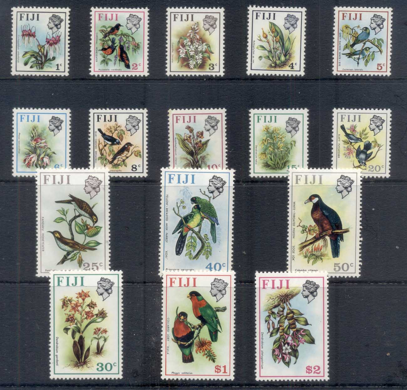 Fiji 1971-72 Pictoriallls, Birds & Flowers MUH
