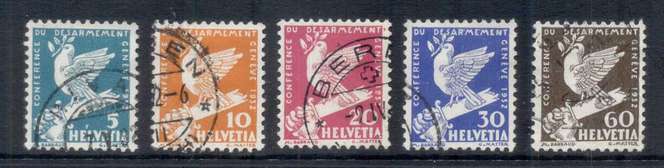 Switzerland 1932 Intl. Disarmament Conf, bird to 60c FU