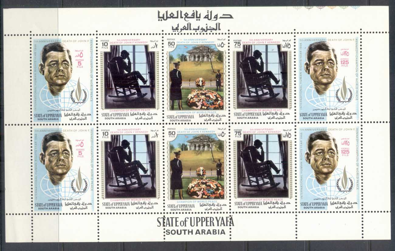 Upper Yaffa 1967 Intl. Year of Human Rights, Kennedy sheetlet MUH