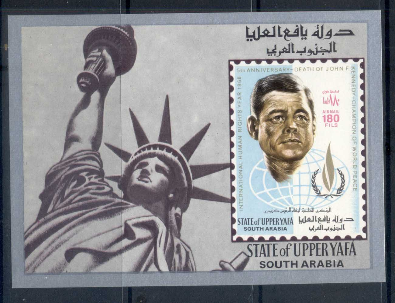 Upper Yaffa 1967 Intl. Year of Human Rights, Kennedy IMPERF MS MUH