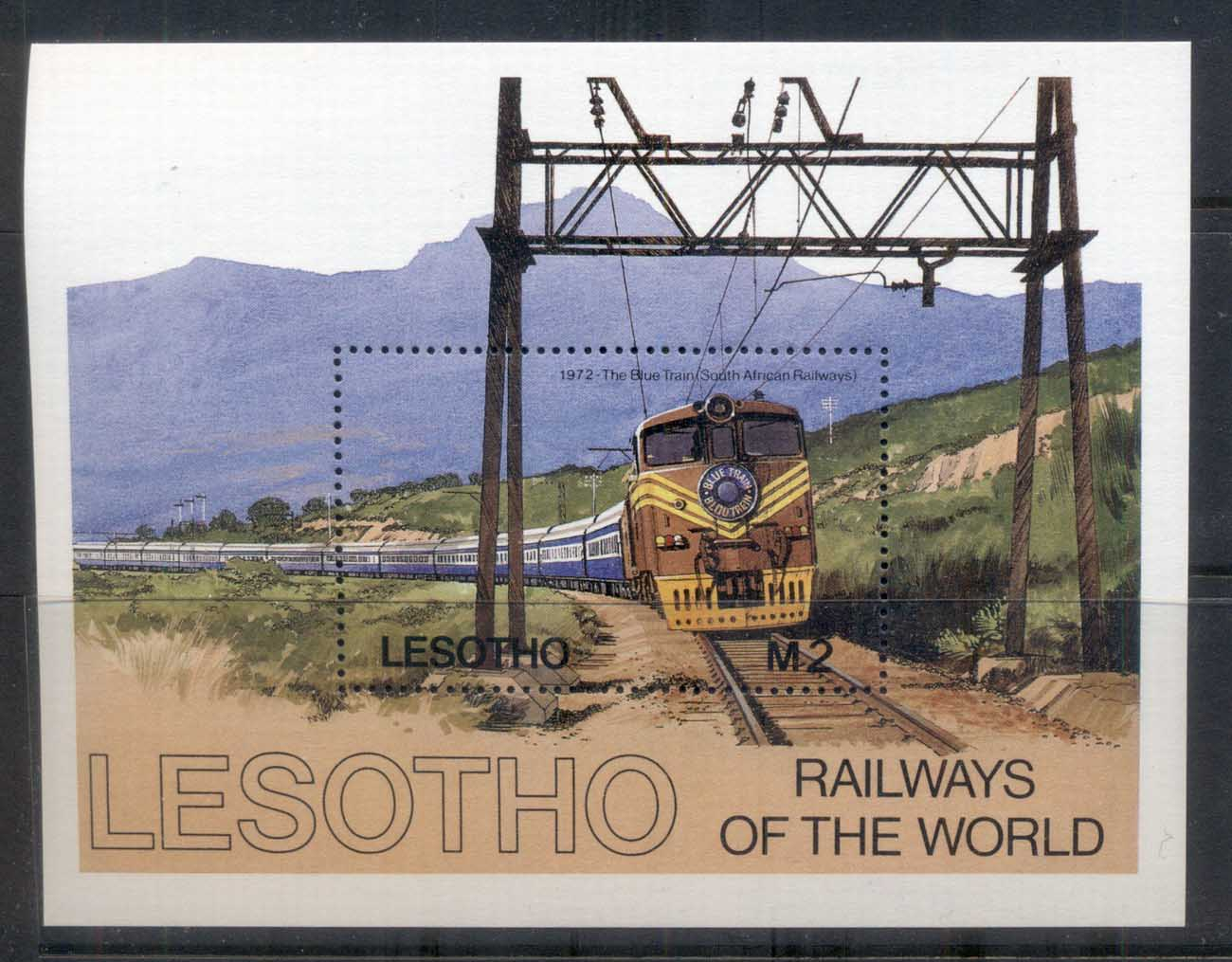 Lesotho 1984 Railway's of the World, Blue Train MS MUH