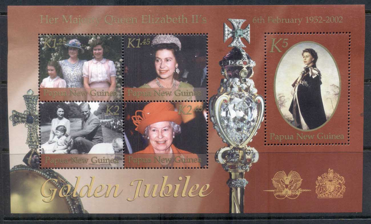 PNG 2002 QEII Golden Jubilee MS MUH