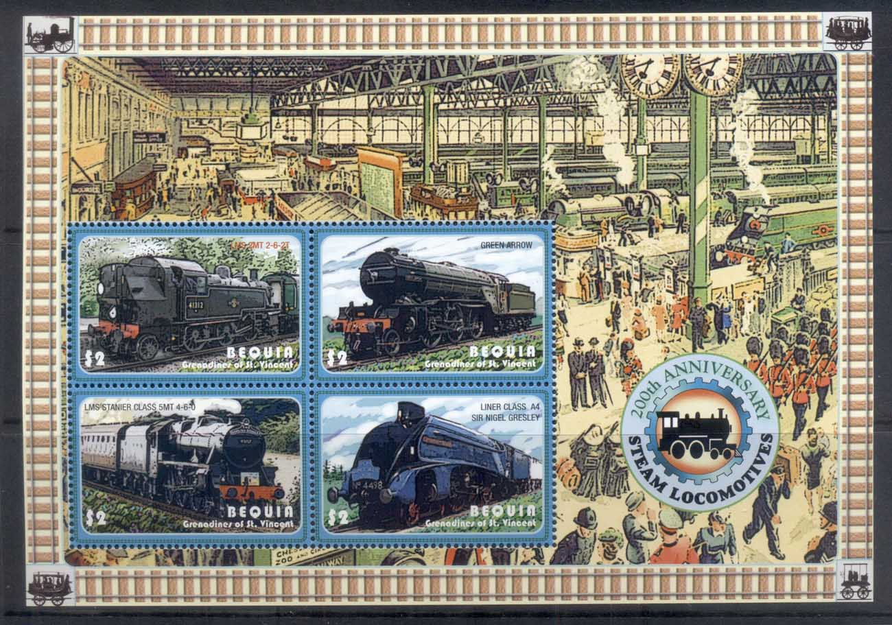 St Vincent Bequia 2010c. Trains, 200th Anniv. Steam Locomotives sheetlet MUH