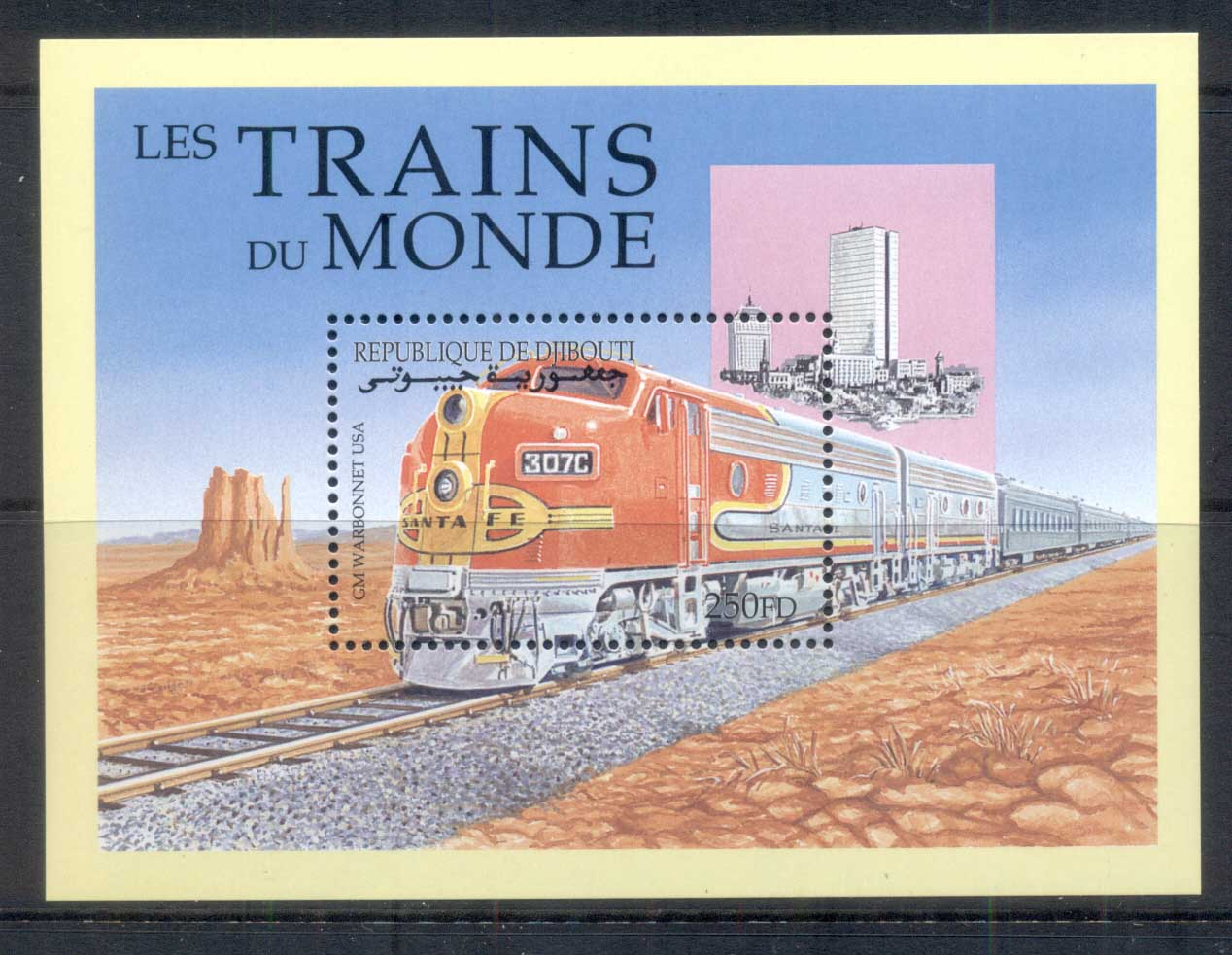 Djibouti 2000 Trains of the World, War Bonnet MS MUH