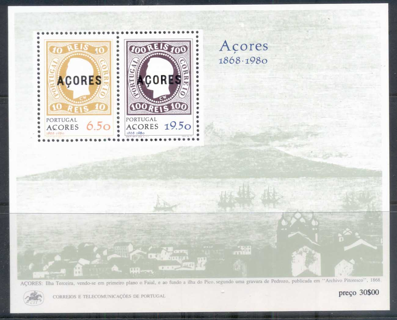 Azores 1980 Stamps on Stamps MS MUH