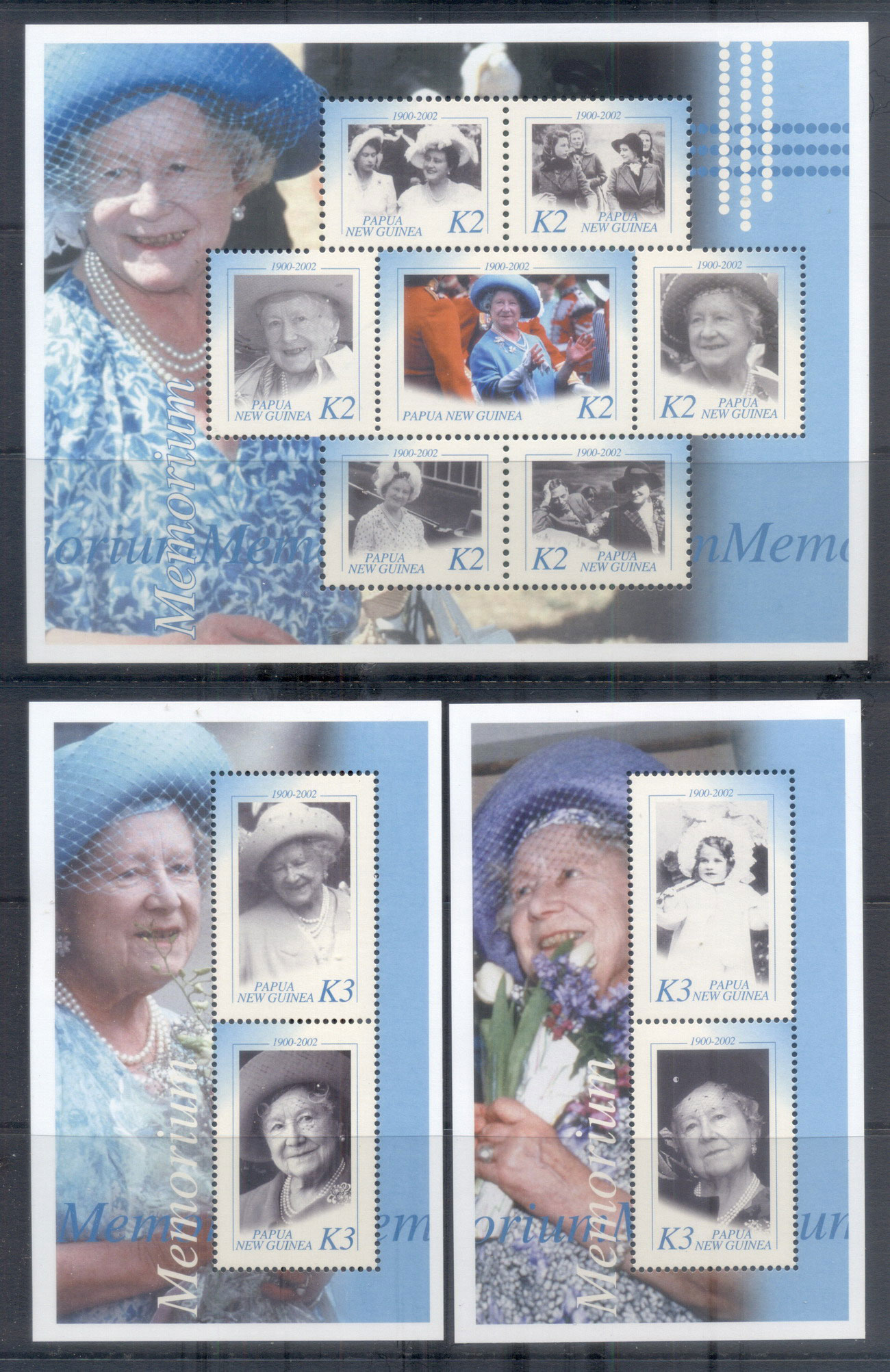 PNG 2002 Queen Mother in Memoriam 3xMS MUH