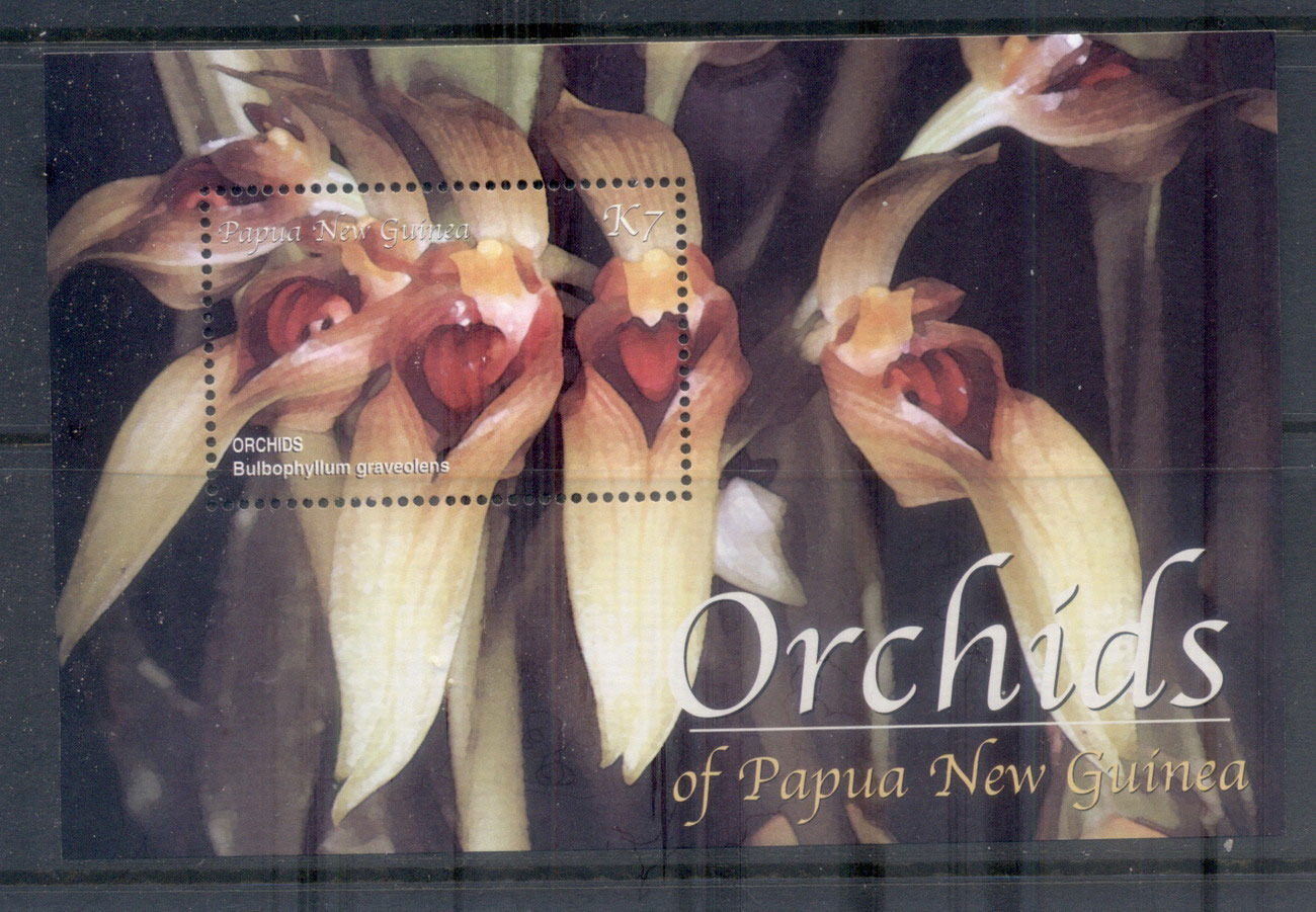 PNG 2002 Flowers, Orchids MS MUH