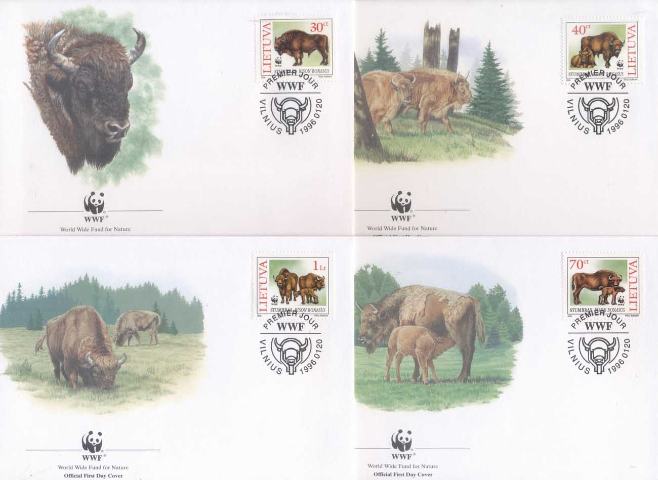 Lithuania 1996 WWF European Bison FDC