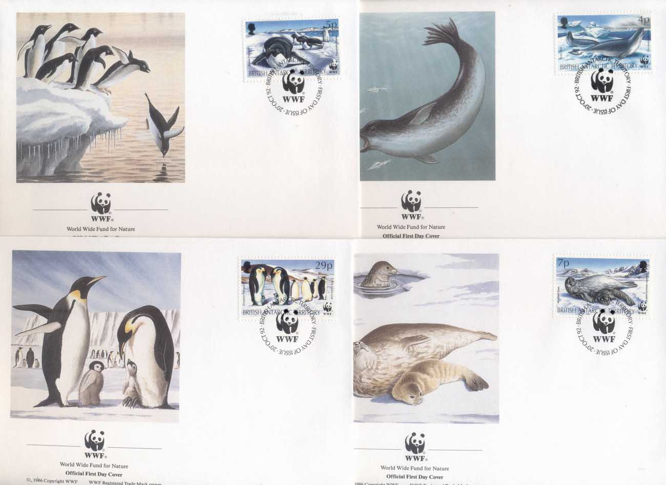 BAT 1992 WWF Antarctic Wildlife, Penguin, Seal FDC