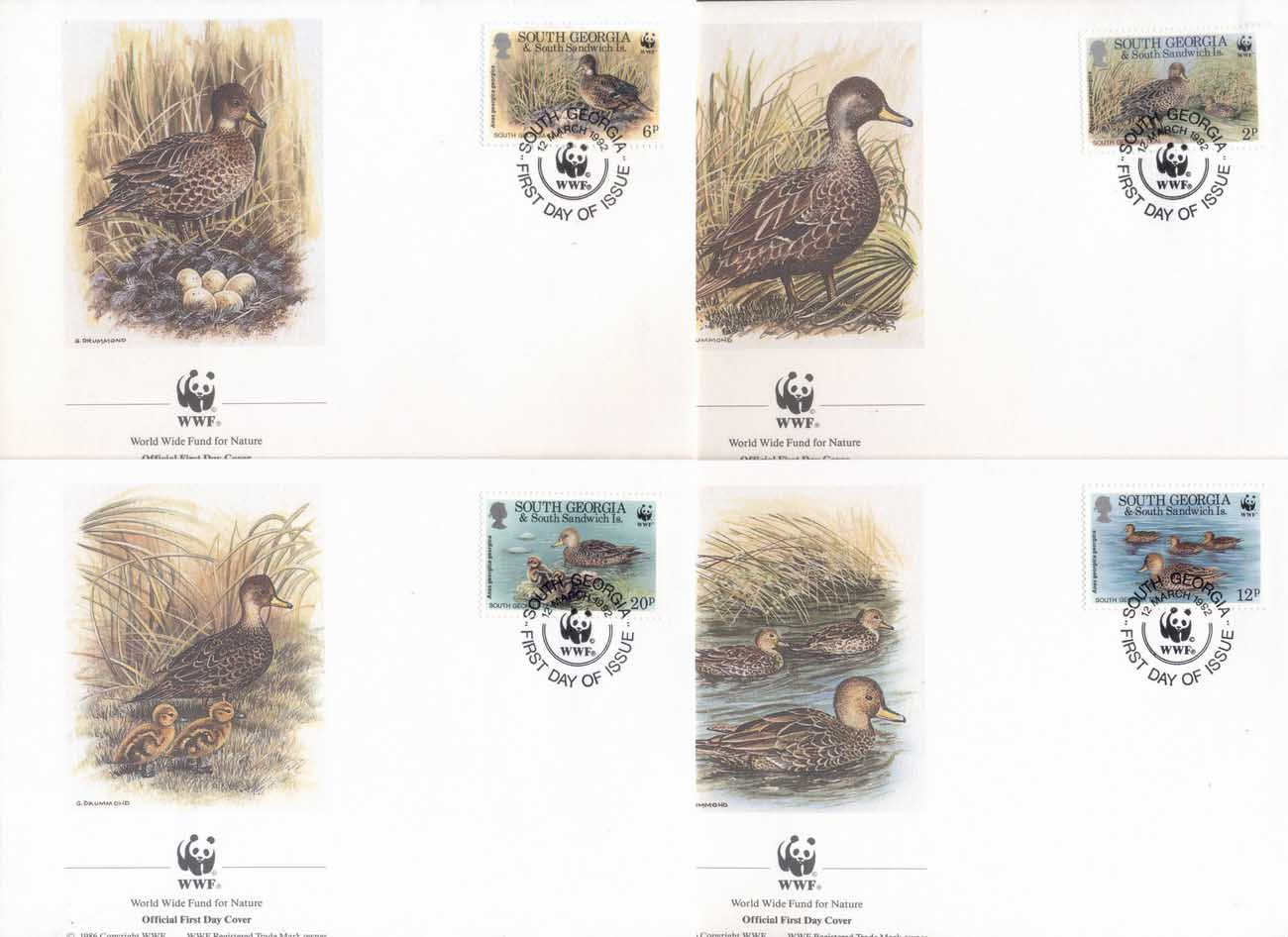 South Georgia 1992 WWF South Georgia Teal, bird FDC