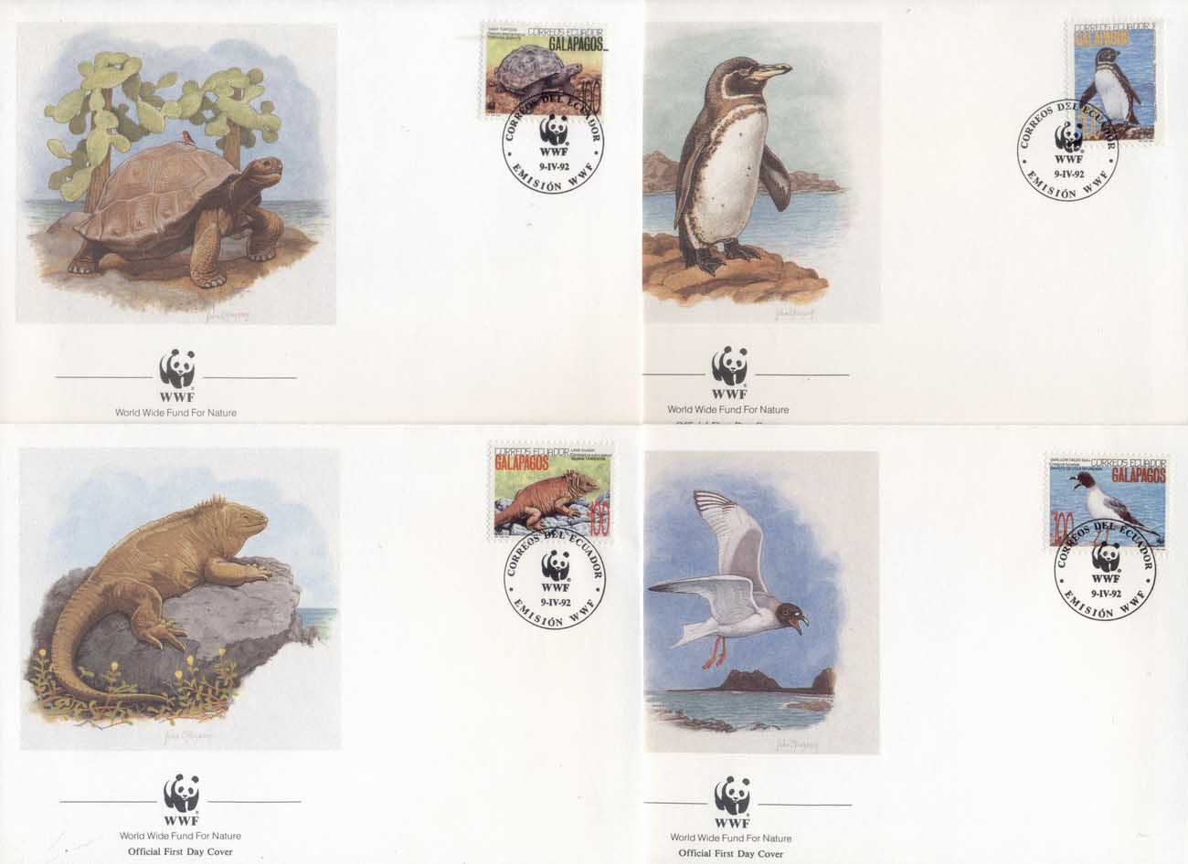 Ecuador 1992 WWF Animals of the Galapagos FDC