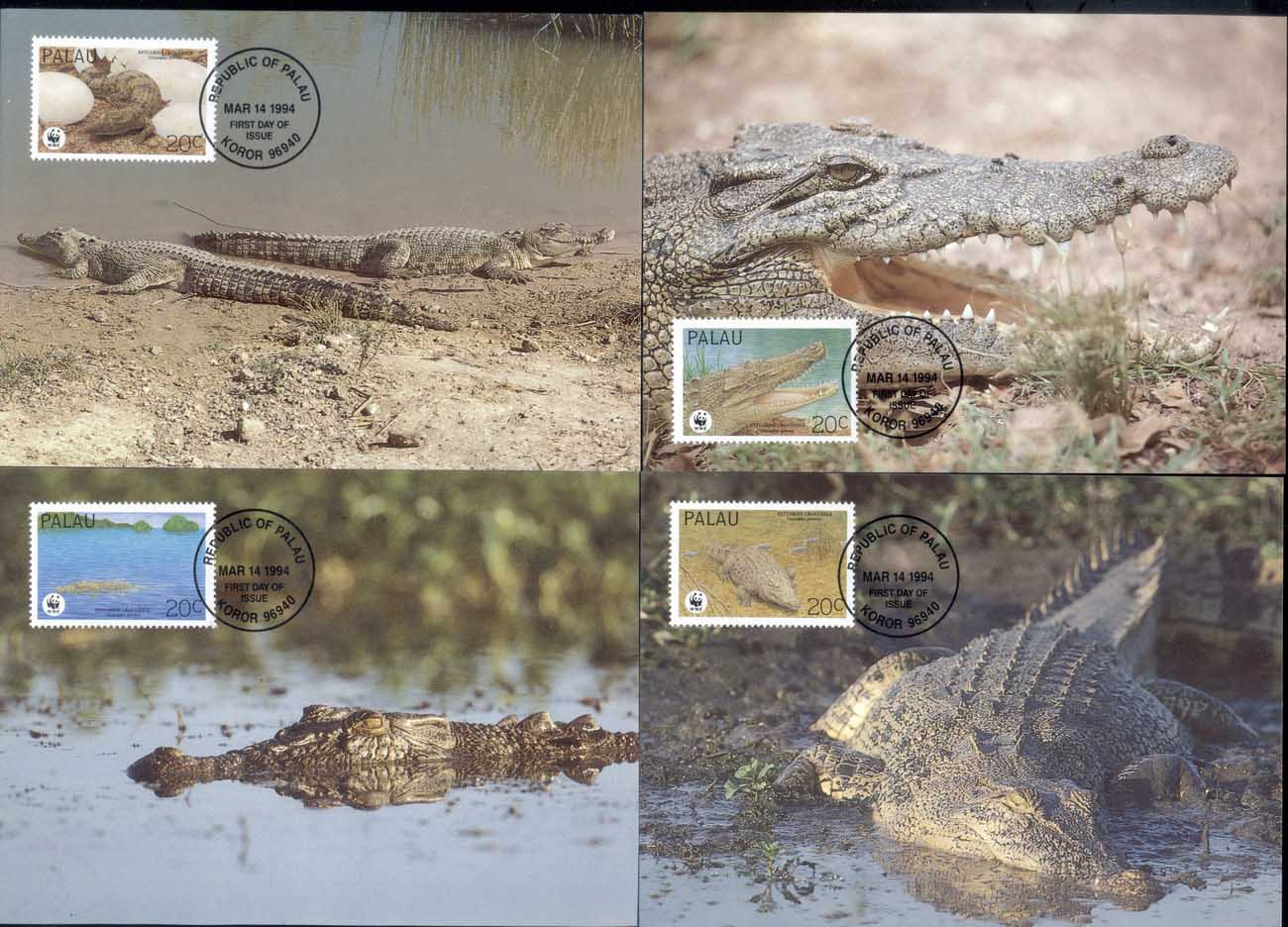 Palau 1994 WWF Estuarine Crocodile Maxicards