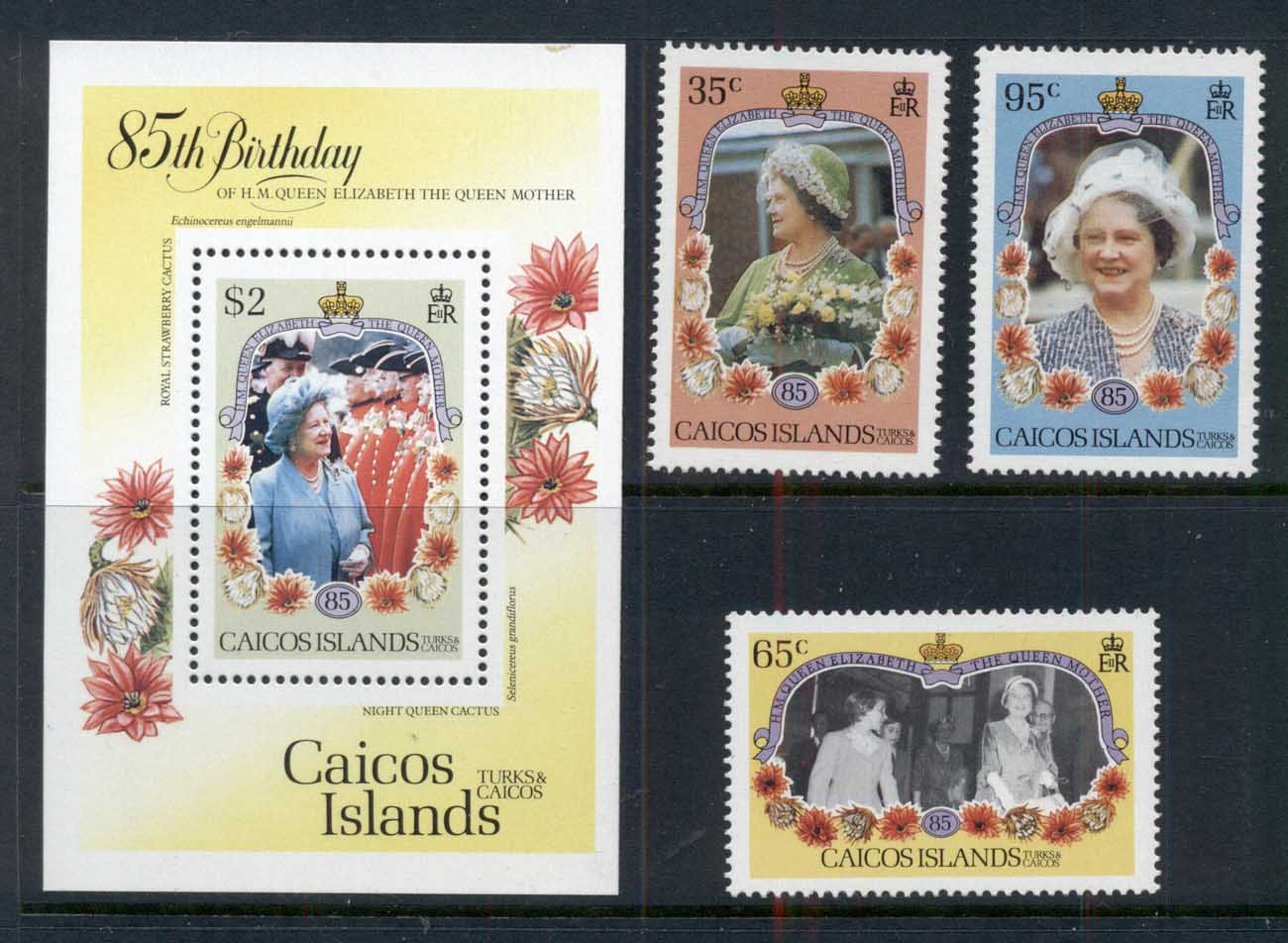 Caicos Is 1985 Queen Mother 85th Birthday + MS MUH