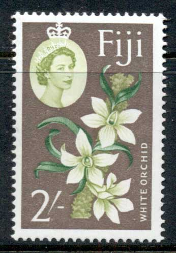 Fiji 1962-67 QEII pictorial, 2/- White Orchid, flower MUH
