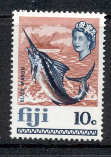 Fiji 1969 QEII Pictorial, 10c Black marlin, fish MUH