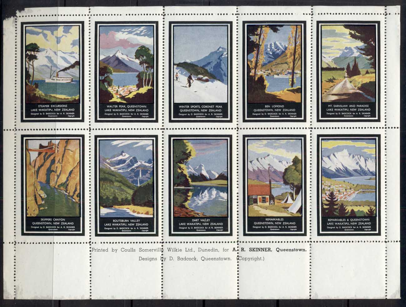 New Zealand 1950's Tourism Cinderellas sheetlet, (margin damage)