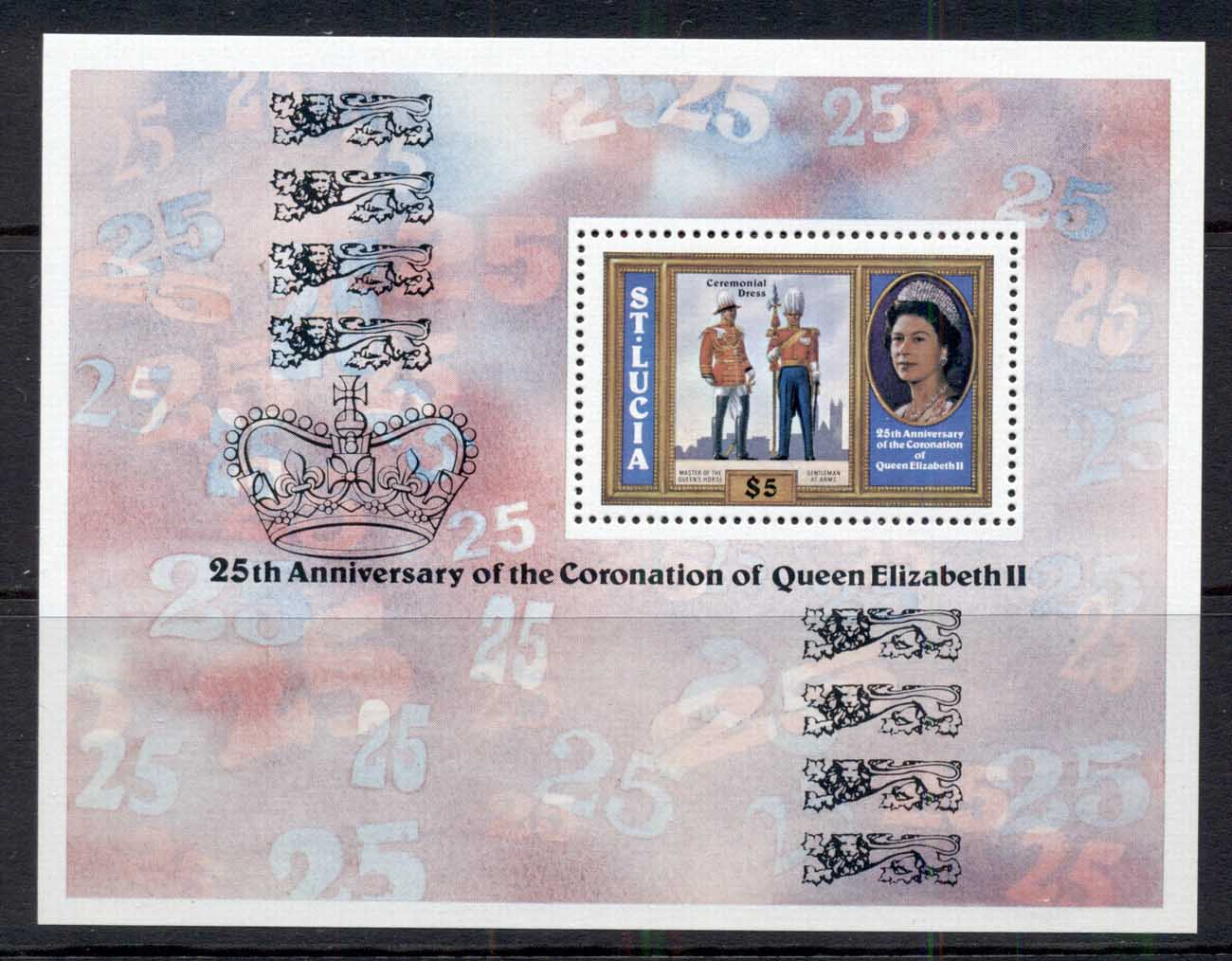 St Lucia 1978 QEII Coronation 25th Anniv. MS MUH