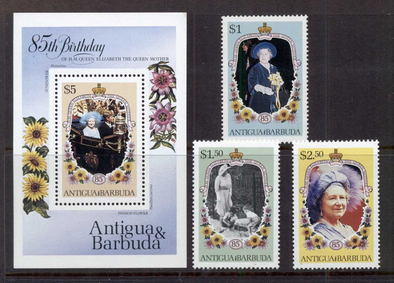 Antigua & Barbuda 1985 Queen Mother 85th Birthday + MS MUH