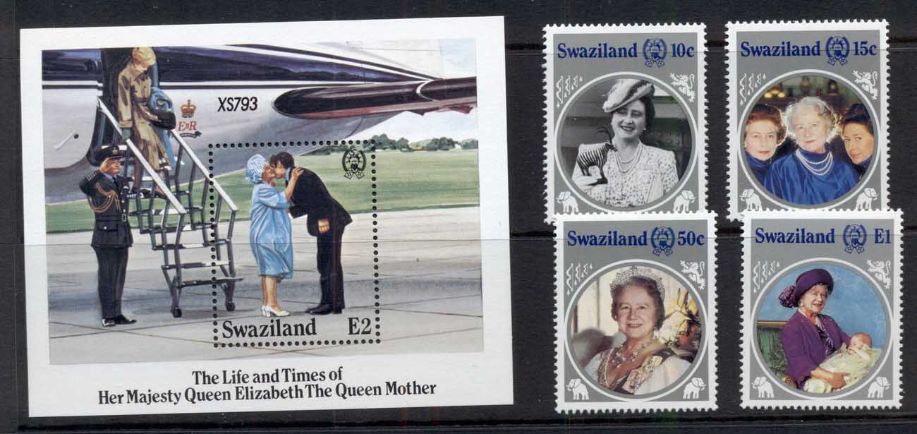 Swaziland 1985 Queen Mother 85th Birthday + MS MUH