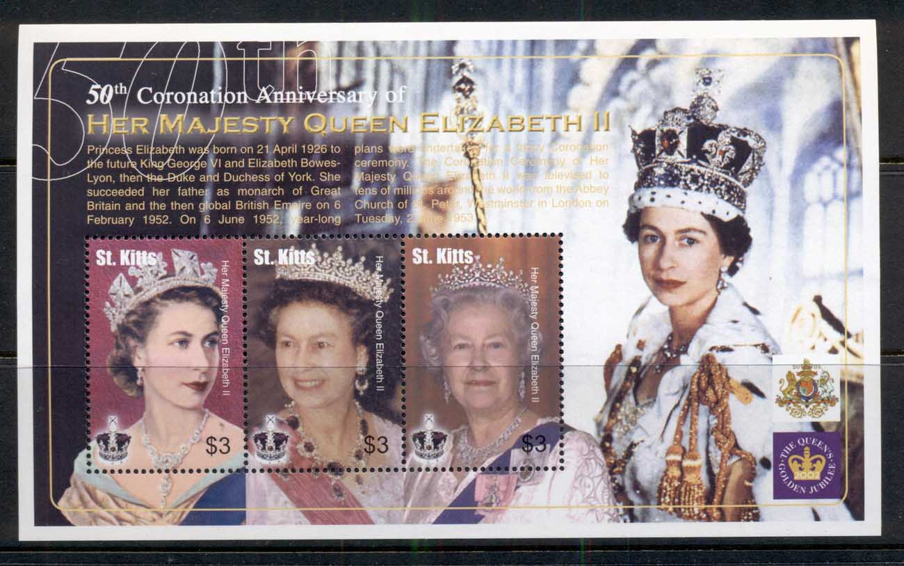 St Kitts 2003 QEII Coronation 50th Anniv. Sheetlet MUH