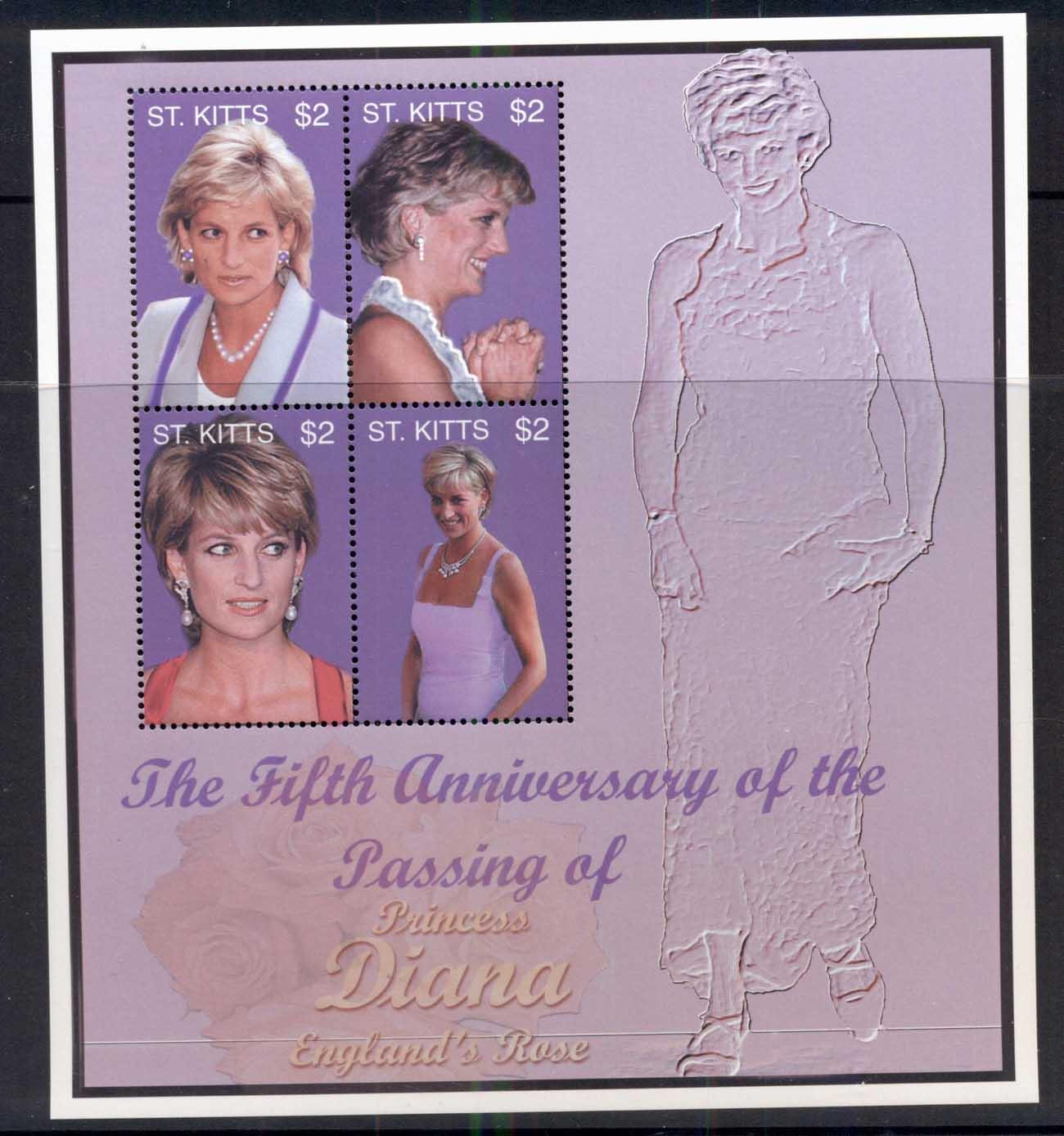 St Kitts 2003 Princess Diana in Memoriam 5th Anniv. Sheetlet MUH