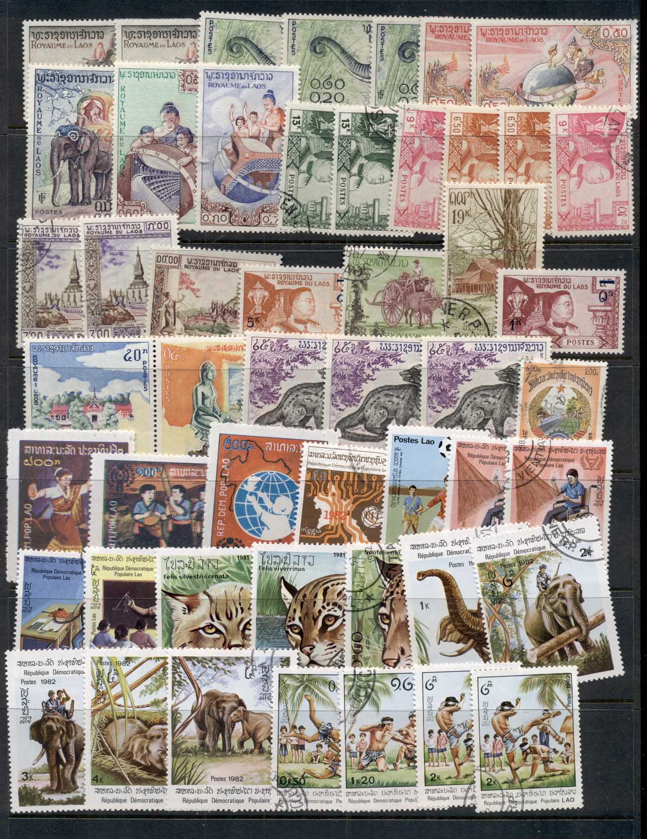 Asia, Laos 1960's on Assorted Oddments, blocks & singles, most CTO 11 scans