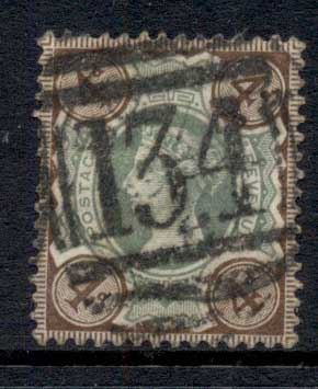 GB 1887-92 QV 4d brown & green FU