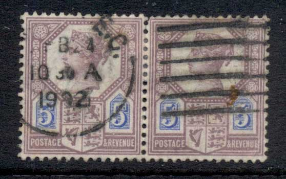 GB 1887-92 QV 5d lilac & blue FU