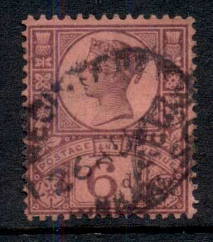 GB 1887-92 QV 6d violet on rose FU
