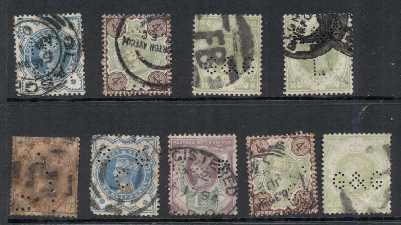 GB 1880's on QV Assorted perfins (faults) FU