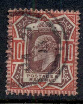 GB 1902-11 KEVII Portrait 10d carmine & dull purple FU