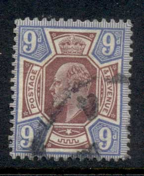 GB 1902-11 KEVII Portrait 9d ultra & dull purple FU