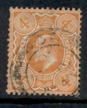 GB 1909-10 KEVII portrait 4d pale orange FU