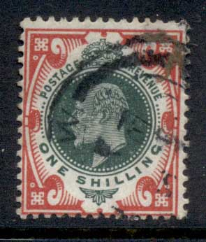 GB 1902-11 KEVII 1/- carmine & dull green FU
