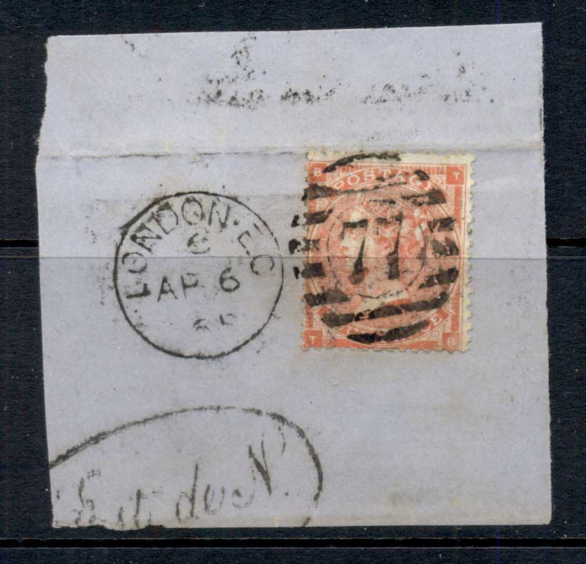 GB 1865 QV 4d vermillion on piece FU