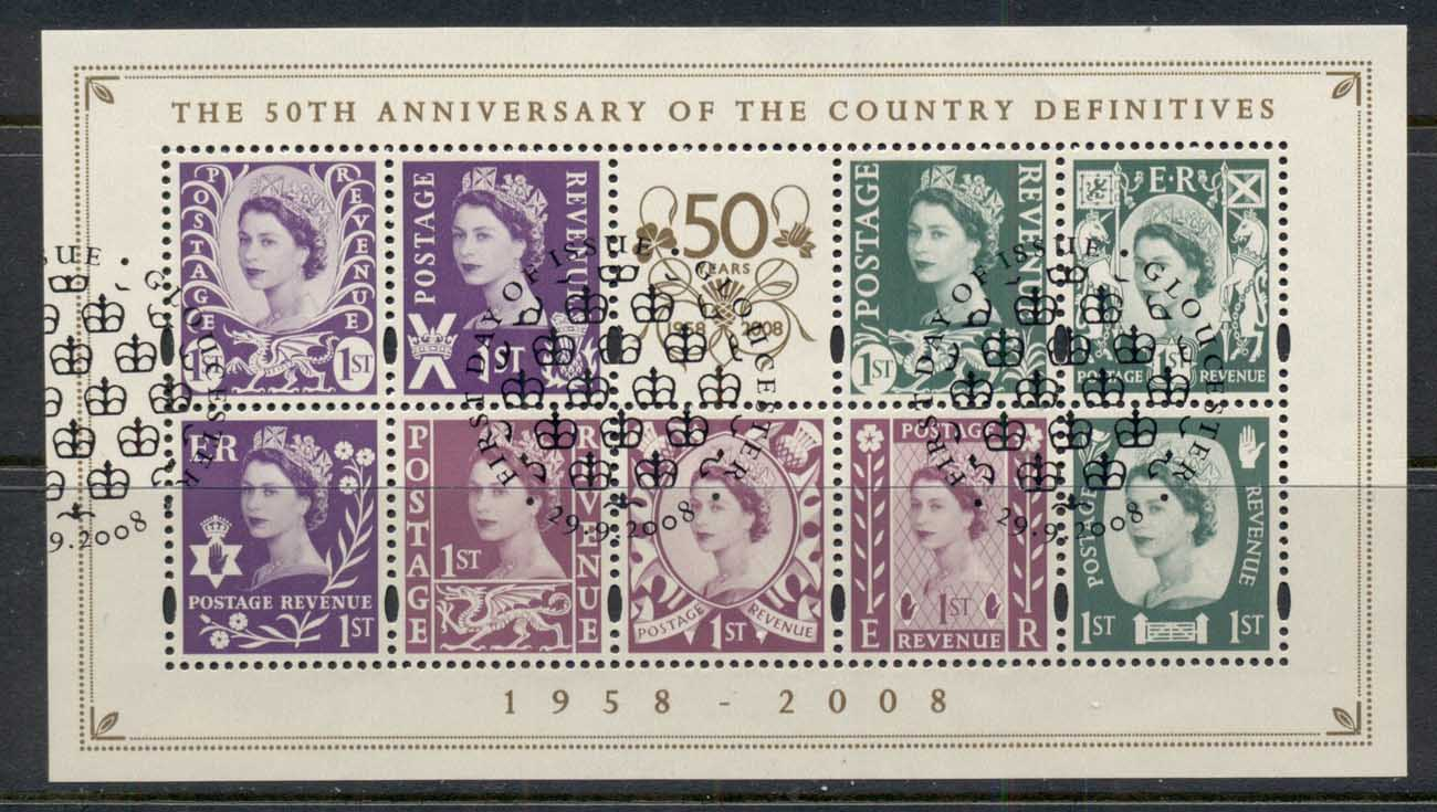 GB 2008 Country Definitives 50th Anniv. MS FU