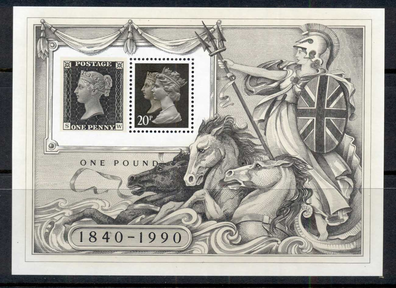 GB 1990 Penny Black 150th Anniv MS MUH