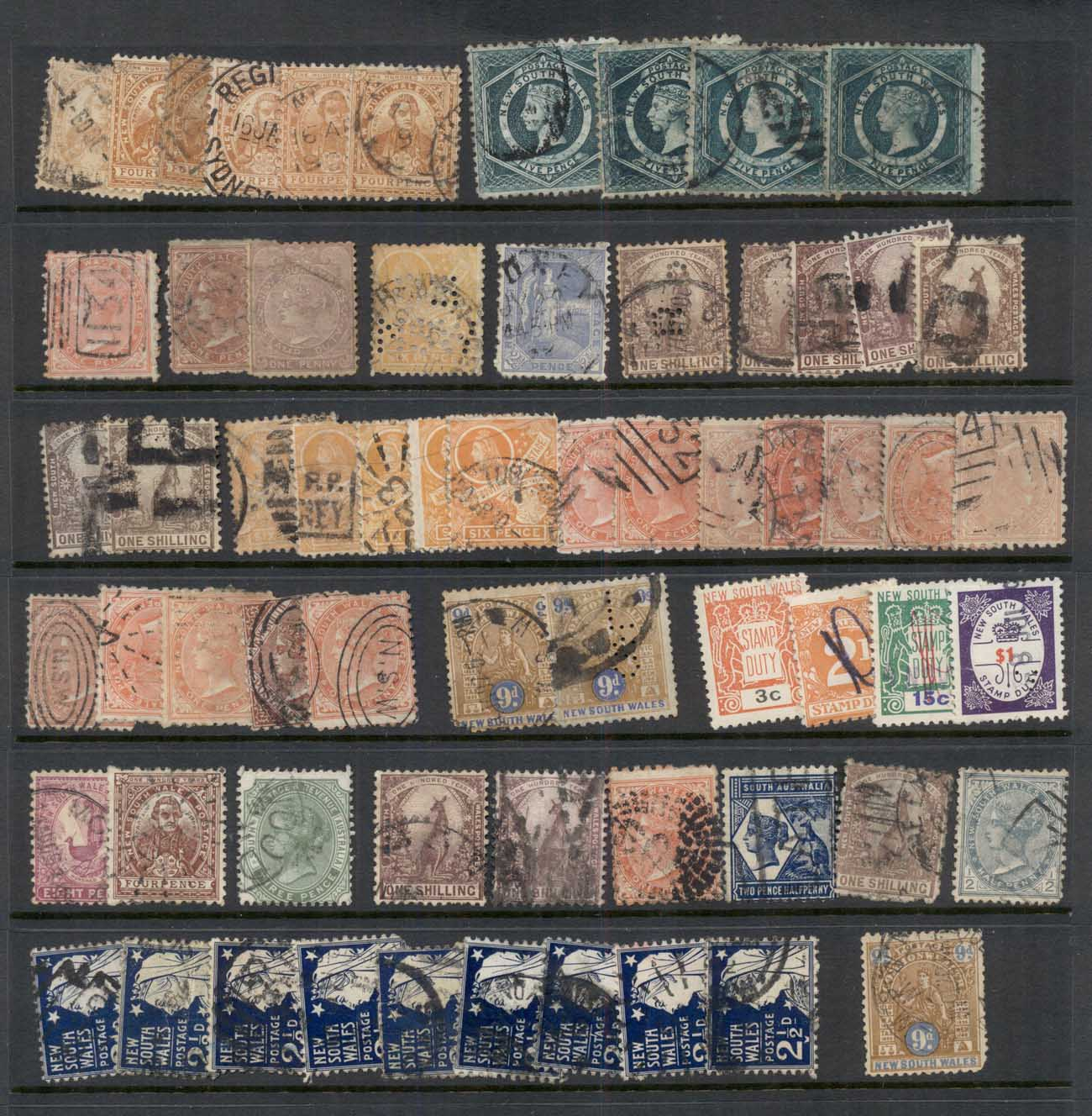 NSW 1860's on Assorted Oddments, duplicates, interest for postmarks, perforations, shades & watermark varieties, (faults)10 sca