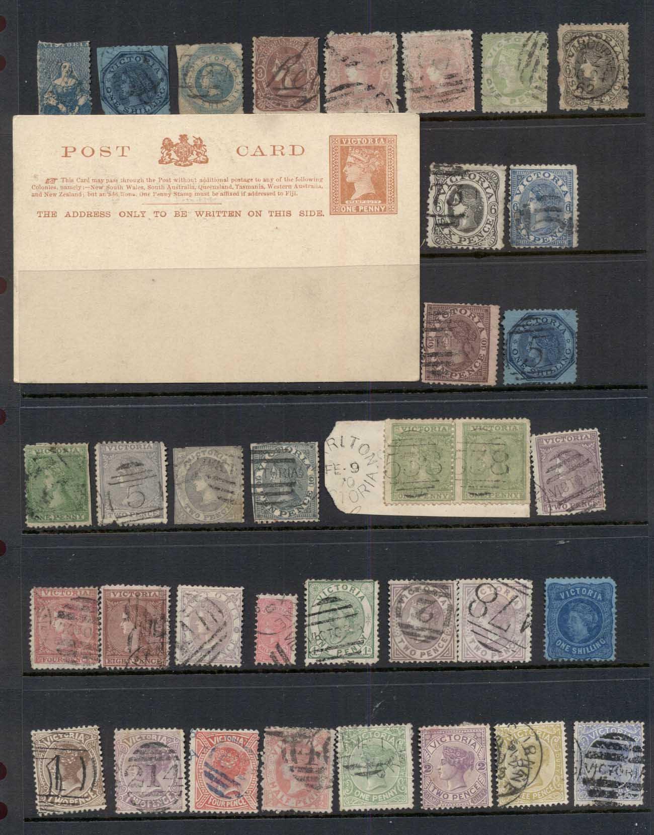 VIC 1860's on Assorted Oddments, duplicates, interest for postmarks, perforations, shades & watermark varieties, (faults)14 sca