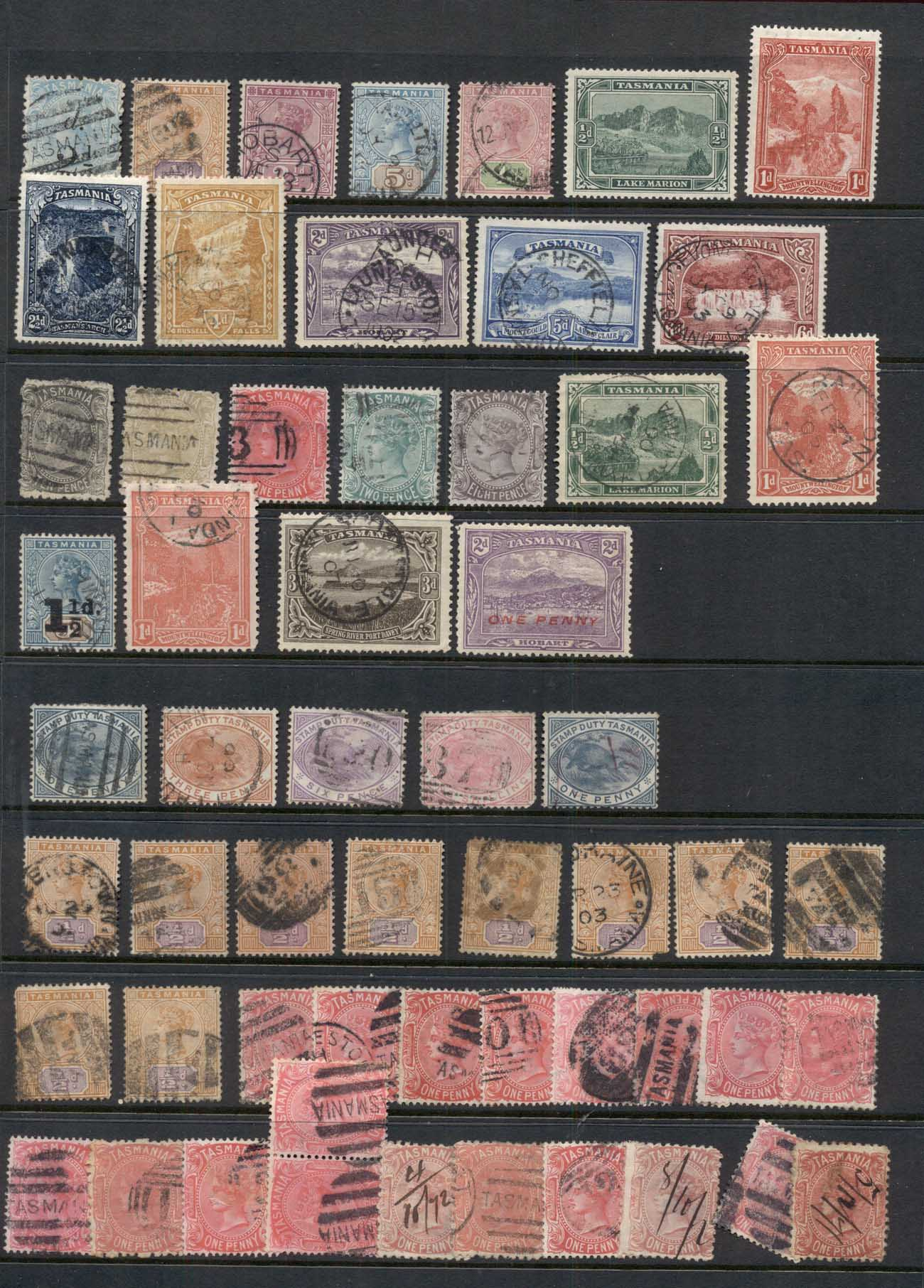 TAS 1860's on Assorted Oddments, duplicates, interest for postmarks, perforations, shades & watermark varieties, (faults)3 scan