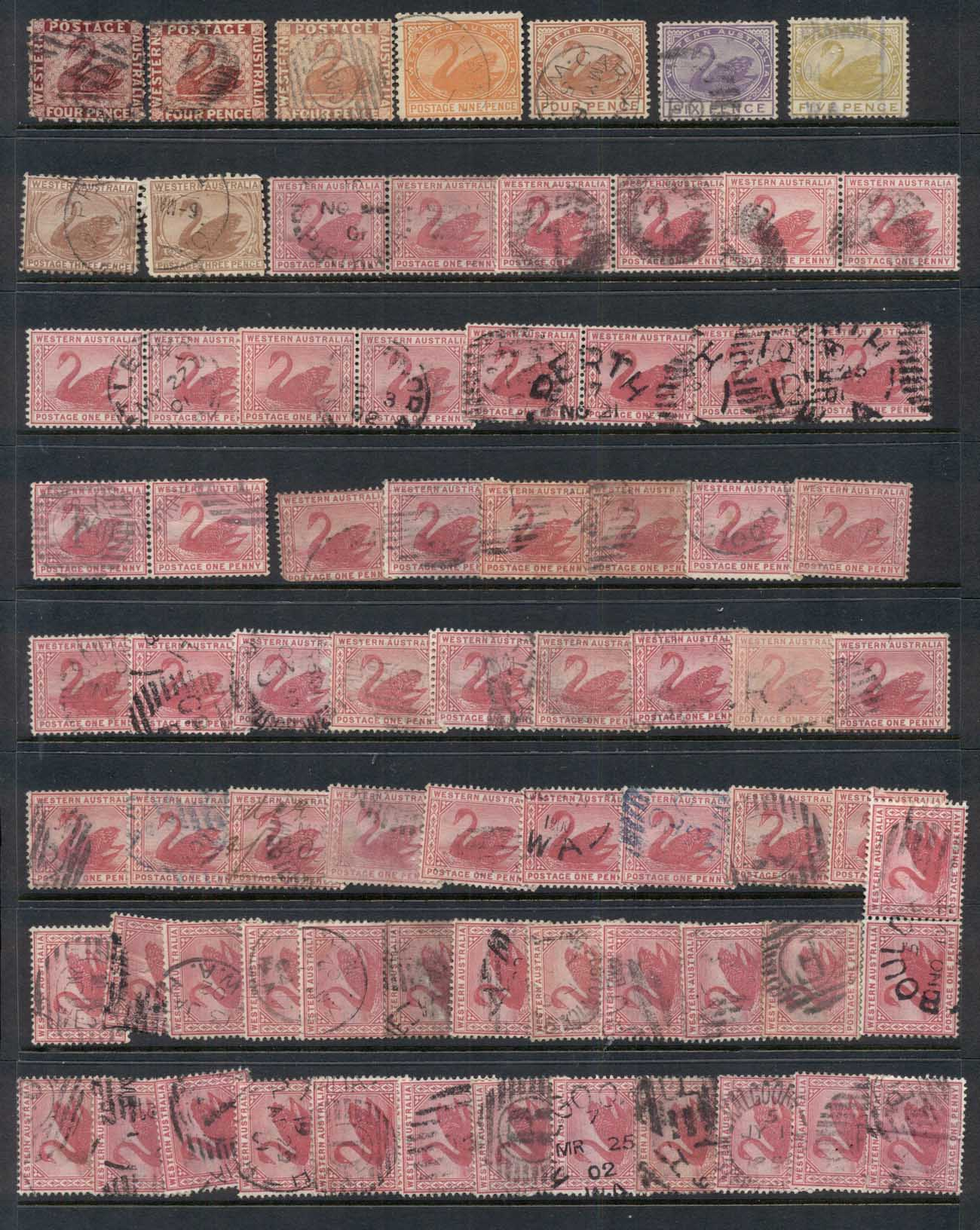WA 1860's on Assorted Oddments, duplicates, interest for postmarks, perforations, shades & watermark varieties, (faults)4 scans